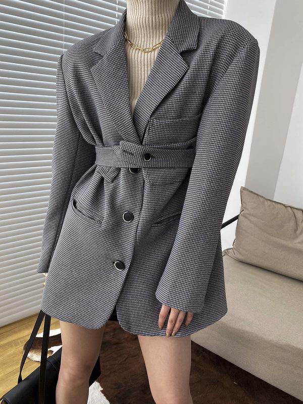 休閒格子西裝外套女秋冬設計少數氣質寬鬆韓版西裝外套 Sn0135
