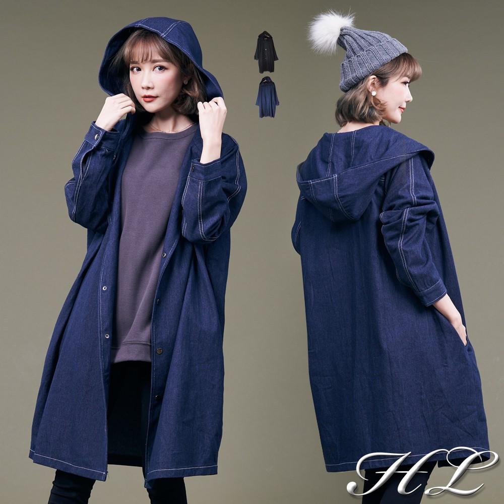 HL超大尺碼【19071036】好搭俐落單寧牛仔連帽長版外套 2色