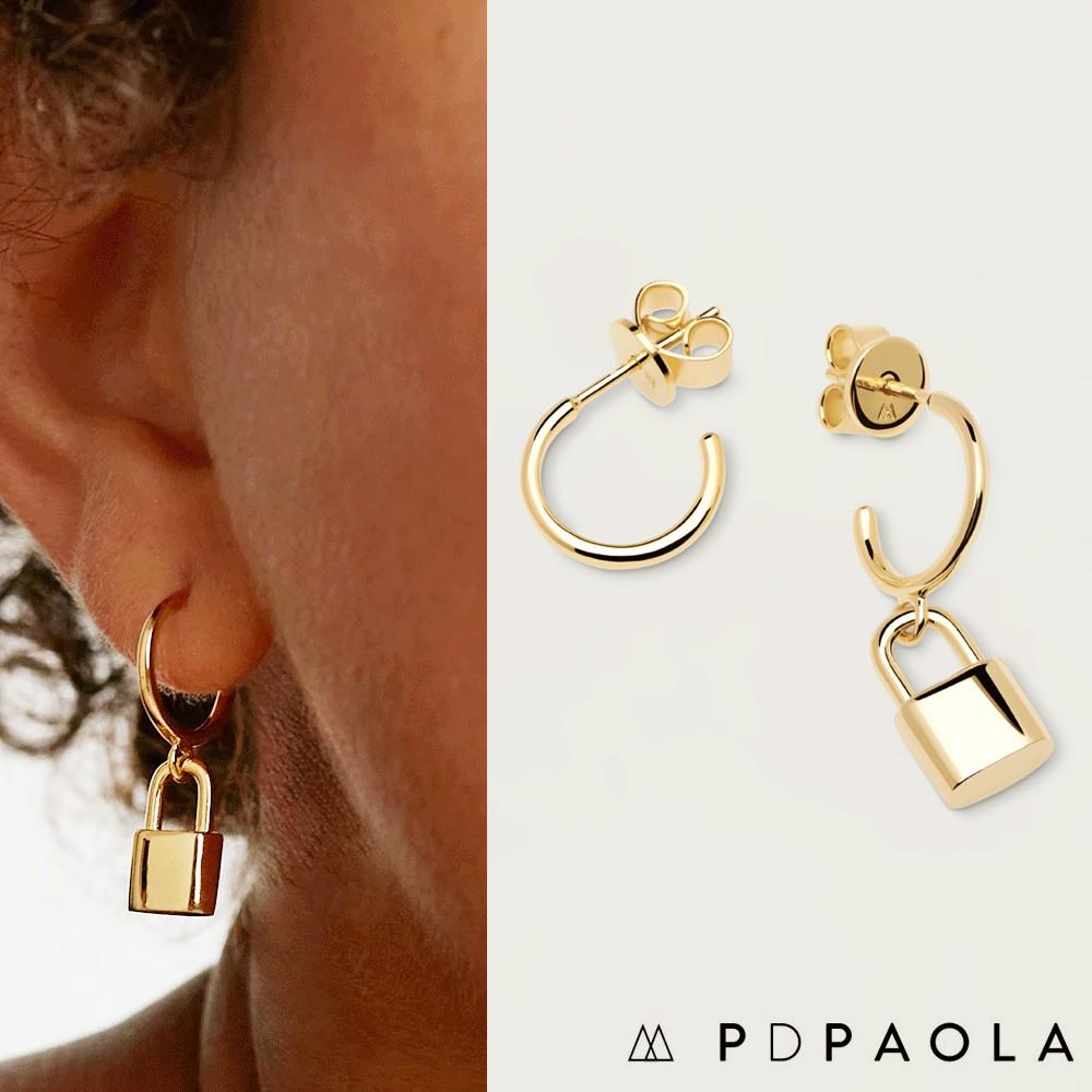 PD PAOLA 西班牙時尚潮牌 金色鎖頭耳環 925純銀鑲18K金 BOND GOLD