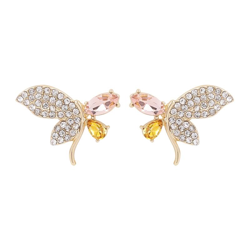 水晶蝴蝶耳釘【DDFI】時尚 通勤 2020年 新款 耳環 氣質耳飾 S925銀針 A4D14