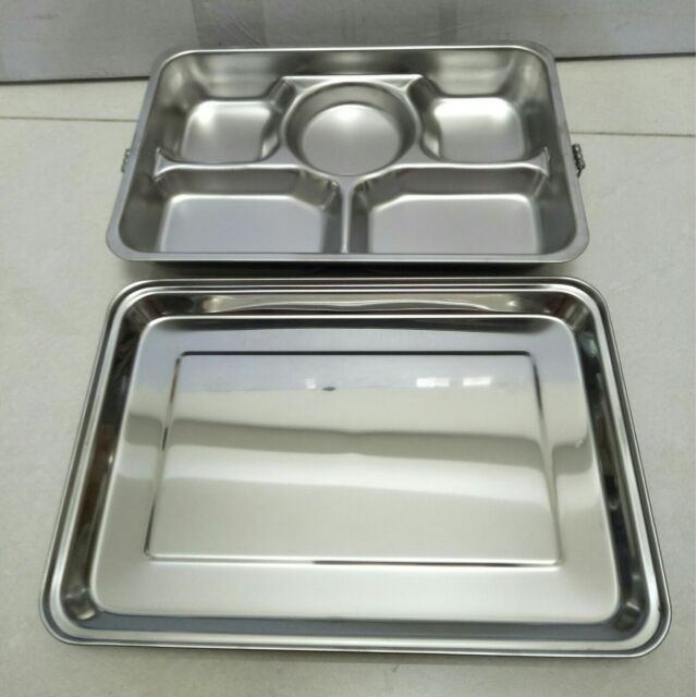 不銹鋼便當盒 不鏽鋼蒸盤 餐盒 飯盒 菜盤 蒸盤 蝴蝶牌五格餐盤 304不鏽鋼27cmx18.5cm台灣製造