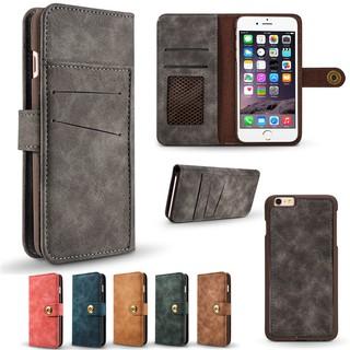 商務真皮皮套 二合一插卡可分離手機套【適用於】iPhone 6 6S 6Plus保護套 磁吸型防摔保護殼 磁吸支架手機殼