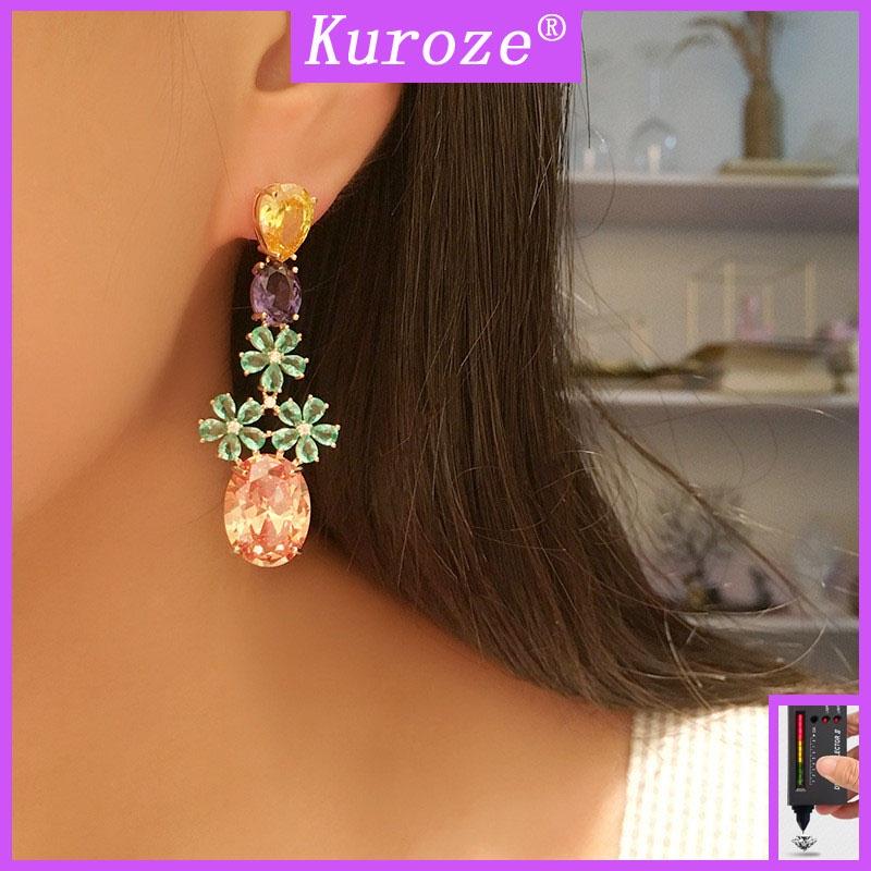 [GRA]時尚彩色鑽石花朵耳環個性耳墜
