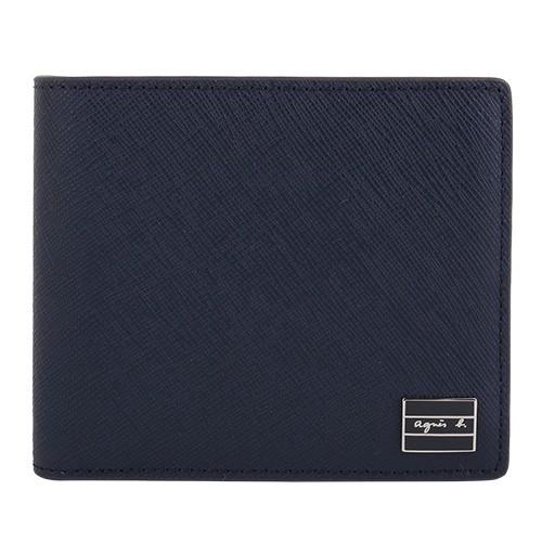 agnes b.- 黑鐵牌草寫logo 防刮零錢袋對折短夾(海軍藍)