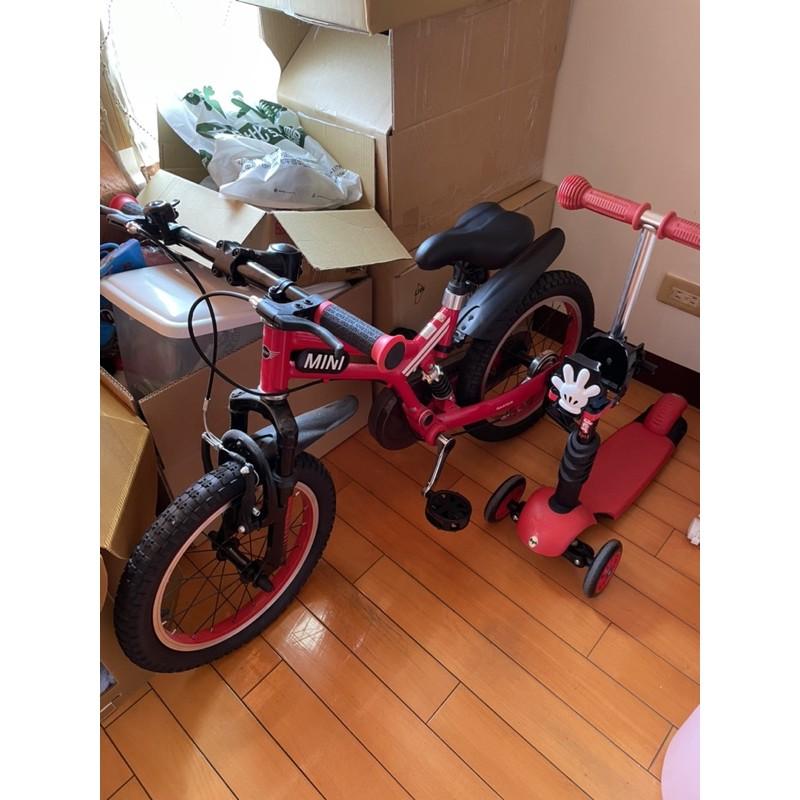 """英國 MINI COOPER原廠正版授權開拓者自行車16吋16""""前後擋泥板越野腳踏車兒童三輪車越野型兒童自行車 紅色"""