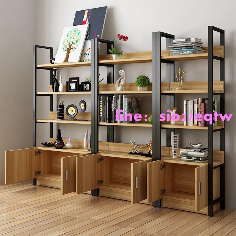 居家生活書架置物架簡易客廳創意隔板簡約現代鋼木書架組合展示架書櫃