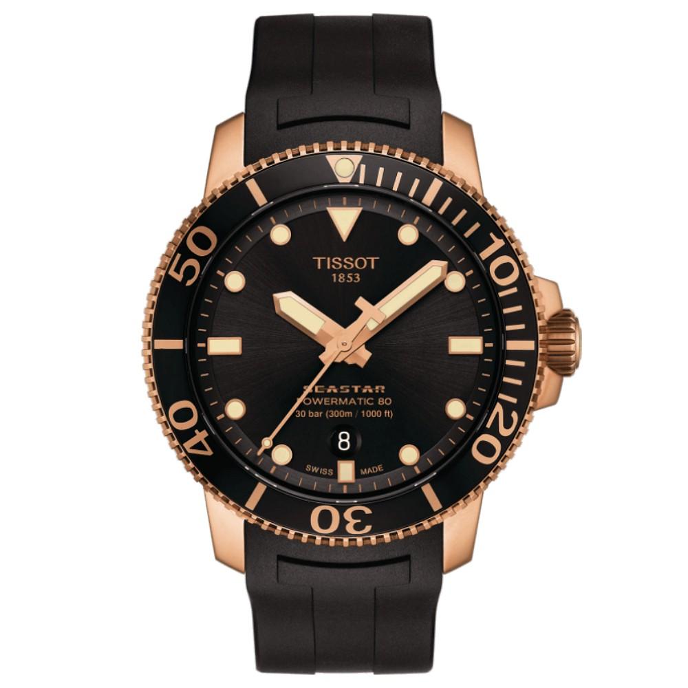 TISSOT天梭 T1204073705101 / Seastar 海洋之星 潛水機械錶 / 80小時動力儲存 / 43