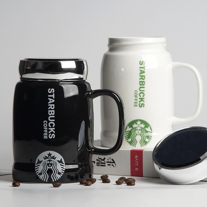 星巴克杯 黑白色釉鏡面 陶瓷杯 馬克杯 咖啡杯 保溫杯