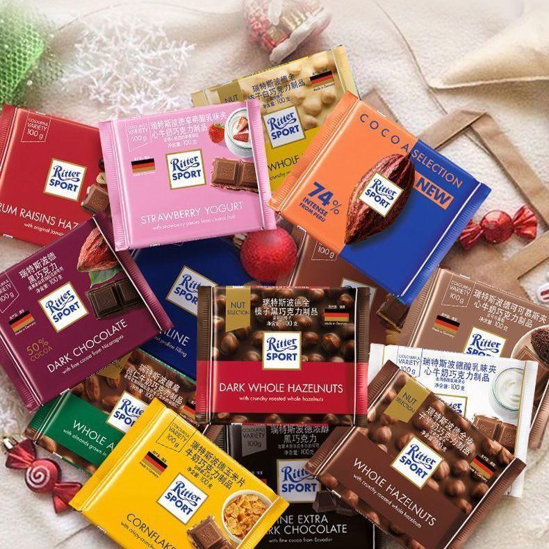 【新品 热销】【新品 熱銷】德國進口Ritter sport瑞特斯波德巧克力夾心堅果榛子黑巧克力散裝