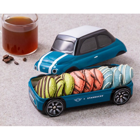 🍀【韓國現貨/本週末免運優惠】2021韓國星巴克 x Mini聯名馬卡龍餅乾小車 鐵盒 Mini Cooper