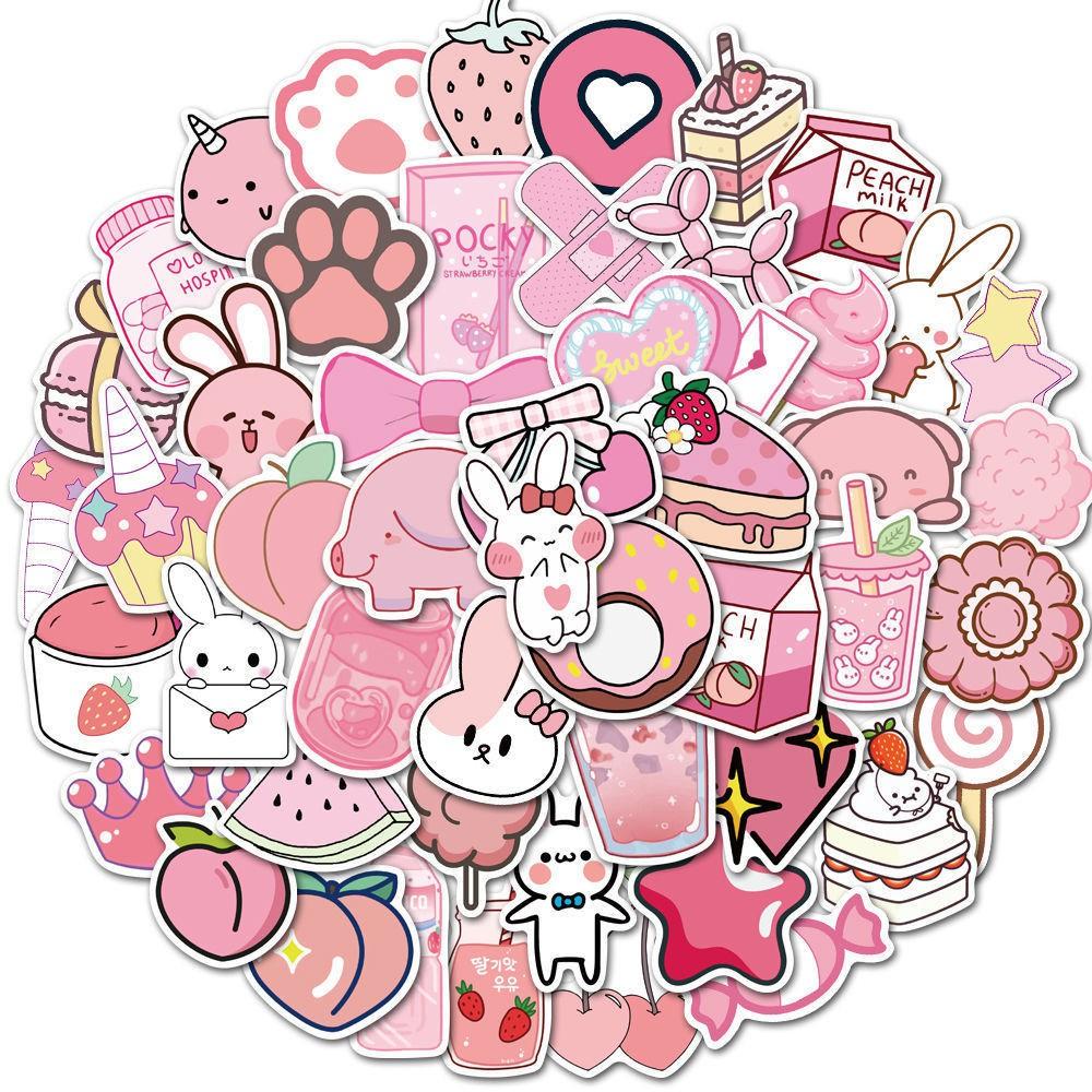 50張新款卡通粉色少女可愛DIY手機殼吉他筆記本電腦防水涂鴉貼紙