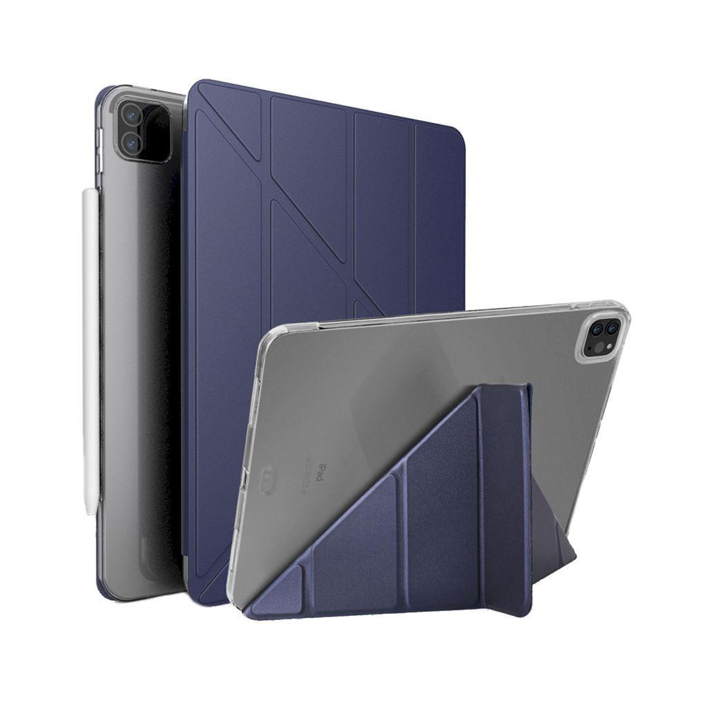 IPad Pro 11 12.9 2021 皮革保護套多折變形支架半透明軟殼平板套保護套