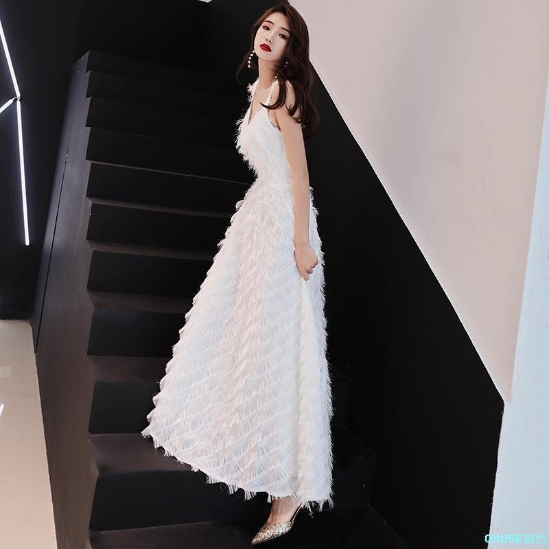【免運】㊣ 宴會 晚禮服 裙 新款 高貴 優雅 端莊 大氣 主持人 氣質 名媛 白色 長款CHUSE