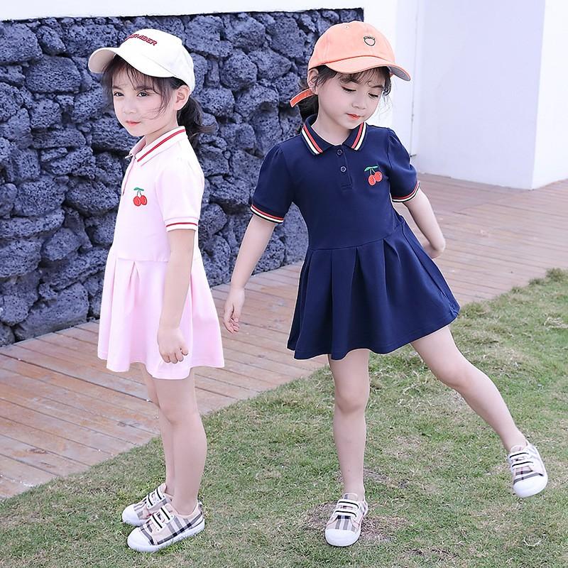 女童連衣裙 夏裝新款小女孩時尚洋氣polo裙衫 兒童韓版公主裙子【IU貝嬰屋】