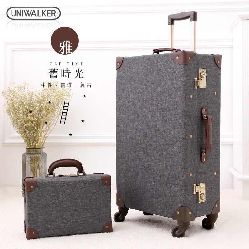 ✨旅行箱✨uniwalker復古行李箱萬向輪拉桿箱男商務旅行箱紳士灰登機箱20寸