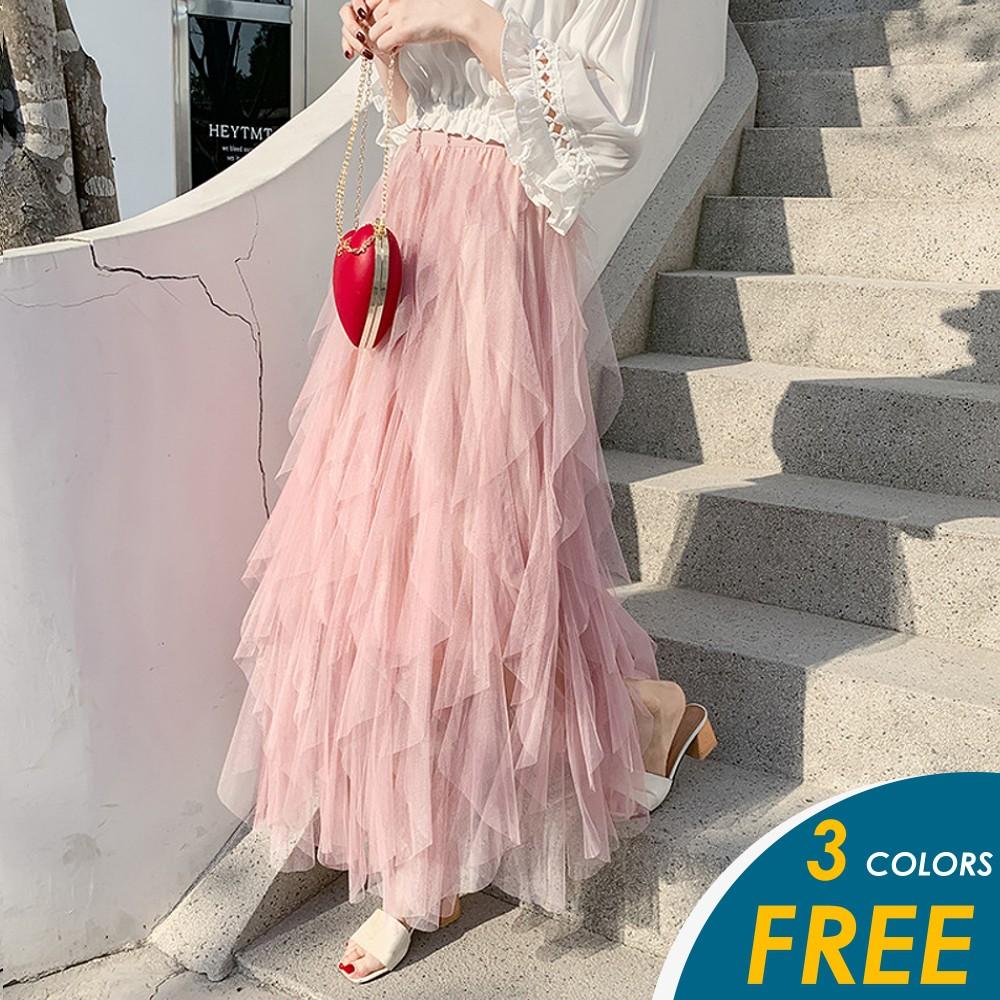 【預購】韓系浪漫波浪荷葉邊唯美網紗裙 390 【俏可】