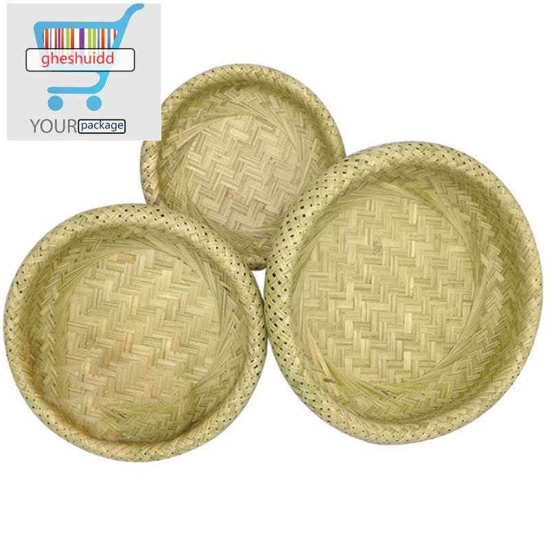 雙層中空竹編籃麵包籃竹製收納籃編織籃水果籃