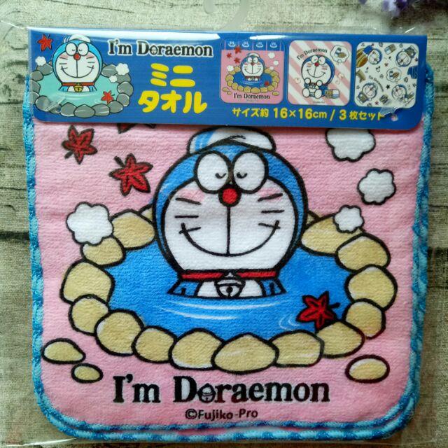 掛號免運⭐日本限定哆啦A夢泡溫泉手帕3入組】超可愛隨身小毛巾Doraemon紅葉泡湯賞楓方巾純棉口水巾聖誕節贈送交換禮物