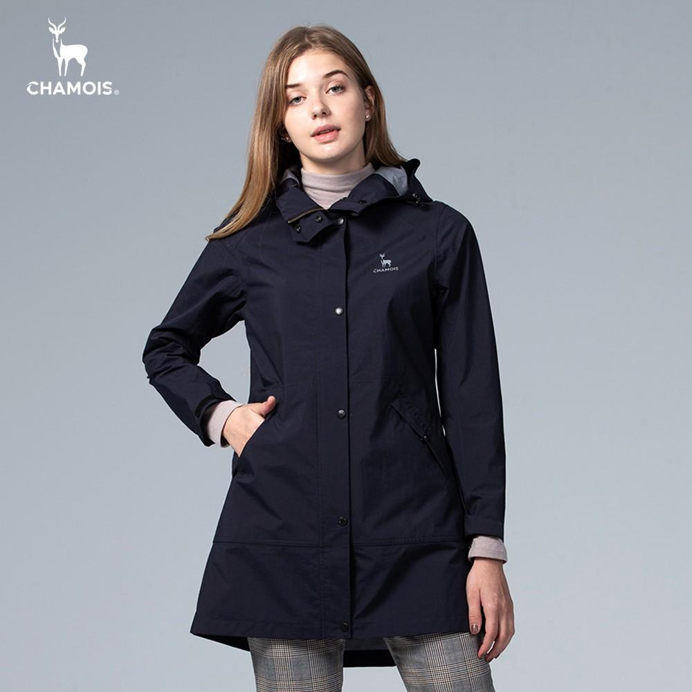 【Chamois加摩仕】Damas-Tex達美斯特 防水透氣修身長版風衣外套 (深藍色)
