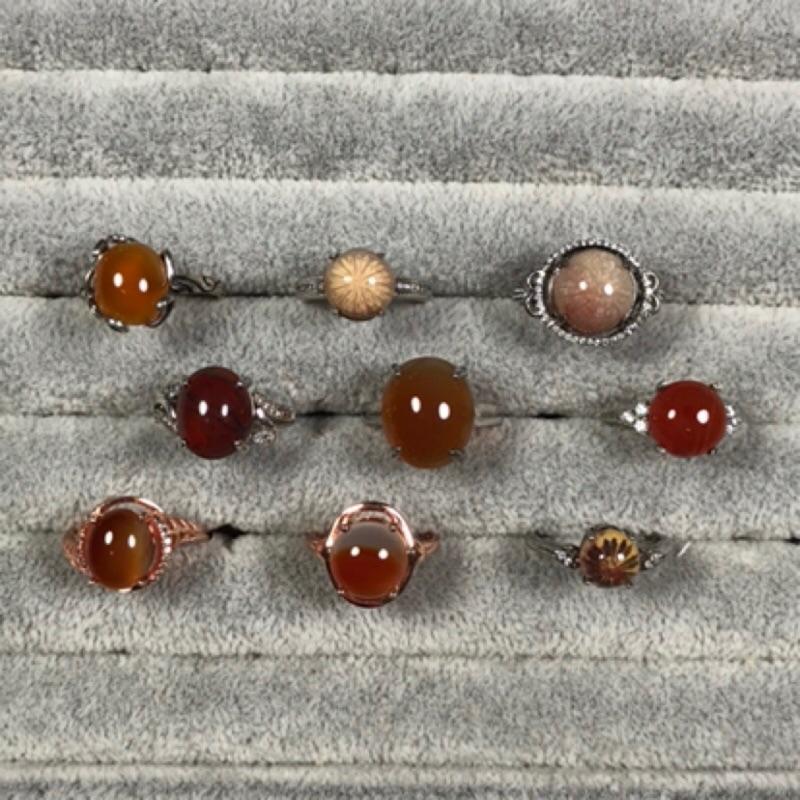 天然玉石戒指 珊瑚玉 紅玉髓 瑪瑙戒指 s925銀戒 多款可選 Gsl 4x