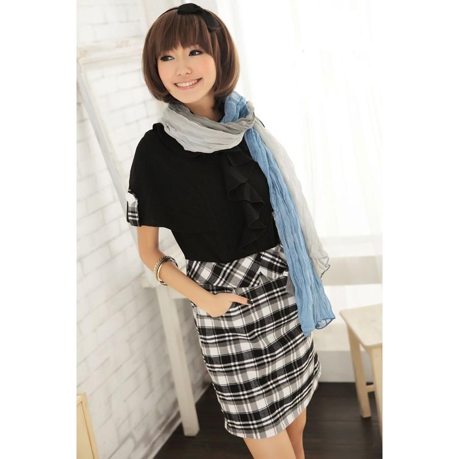 [小資省錢計劃] 優雅大袖子格子OL洋裝 N6639