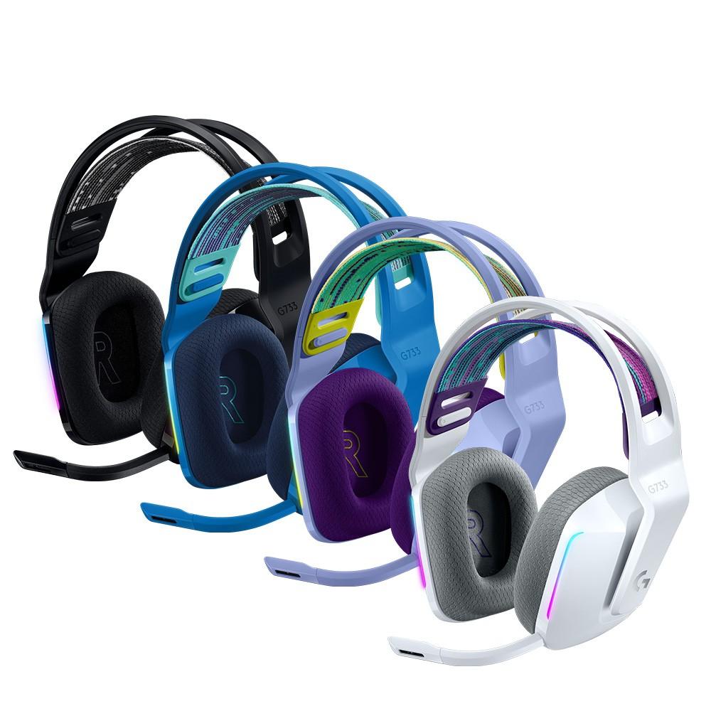 藍款促銷中 Logitech 羅技 G G733 無線RGB炫光電競耳麥 無線耳麥 羅技(黑/白/紫/藍)