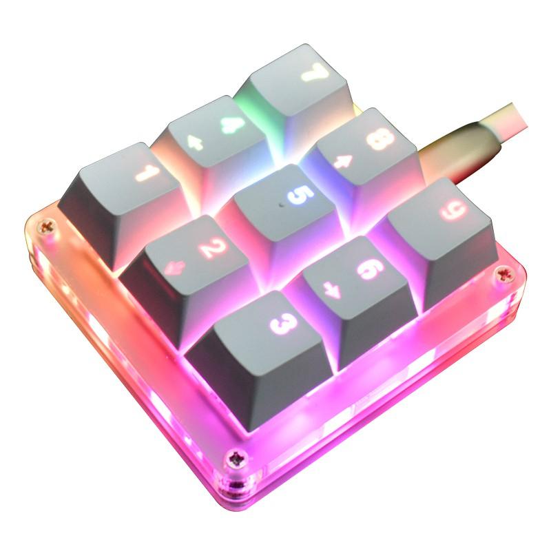 迷你機械鍵盤 9 鍵宏 Osu 鍵盤 Diy 自定義可編程 Rgb Led 背光電動遊戲 Pc 筆記本電腦 Mac
