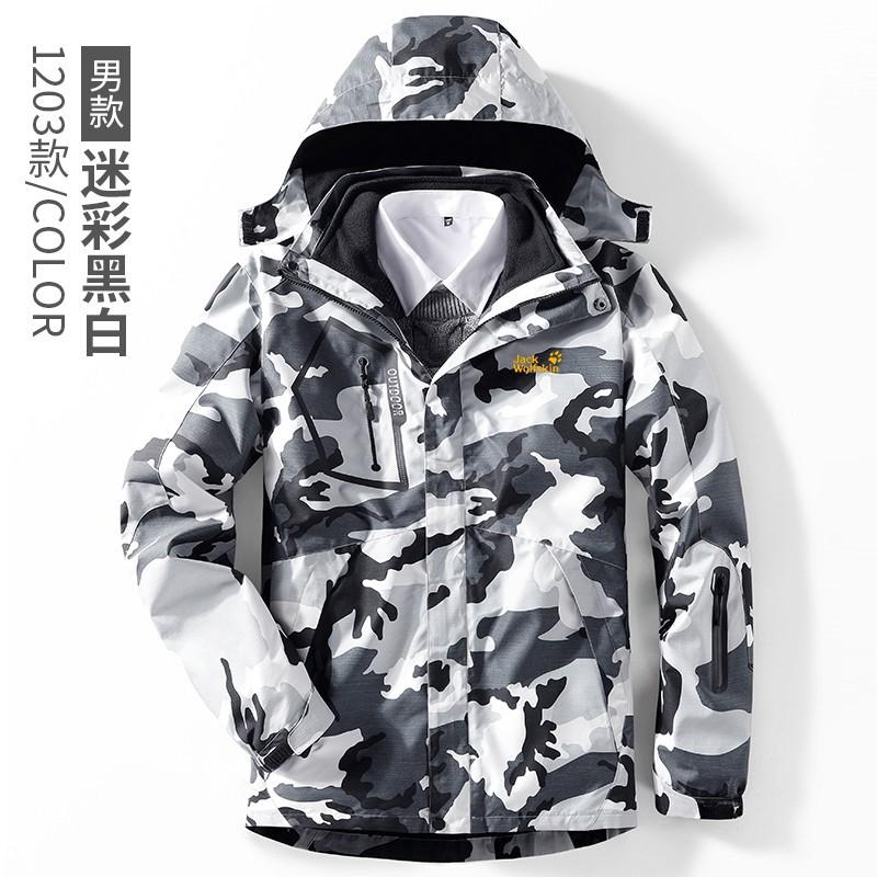 ☬狼爪衝鋒衣 情侶三合一兩件式加絨保暖開衫連帽外套 戶外滑雪登山加厚抗風防水御寒夾克外套 耐磨11