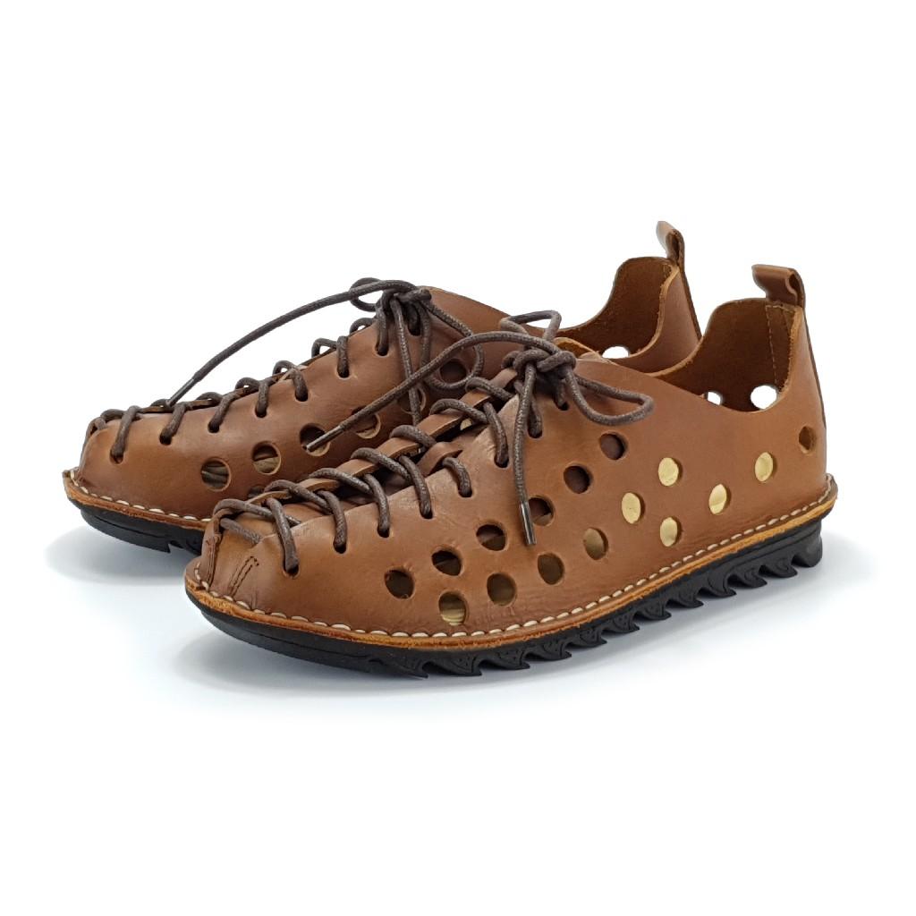 MIT真皮男鞋 休閒鞋 手工 寬楦 - 男洞洞鞋-棕