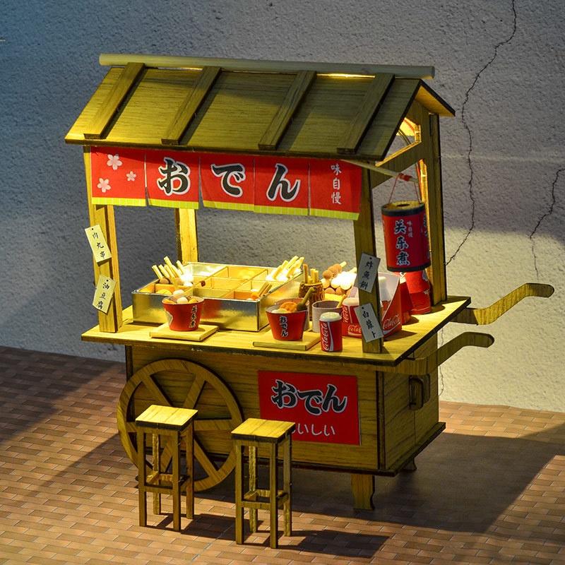 木子家服飾  創意食玩木質拼裝模型木質diy小屋關東煮地攤夜市小吃攤車仔檔大