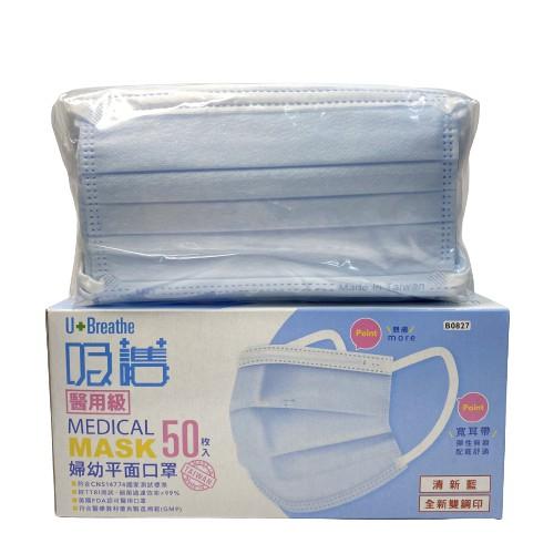 吸護醫用婦幼平面口罩(未滅菌)清新藍