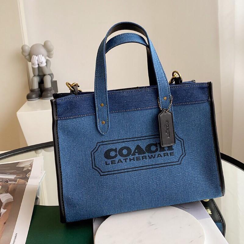 美國【御姐】 COACH F89163 專櫃新款女生帆布包 手提包 單肩包 托特包 時尚牛仔藍配色 女包 附購證