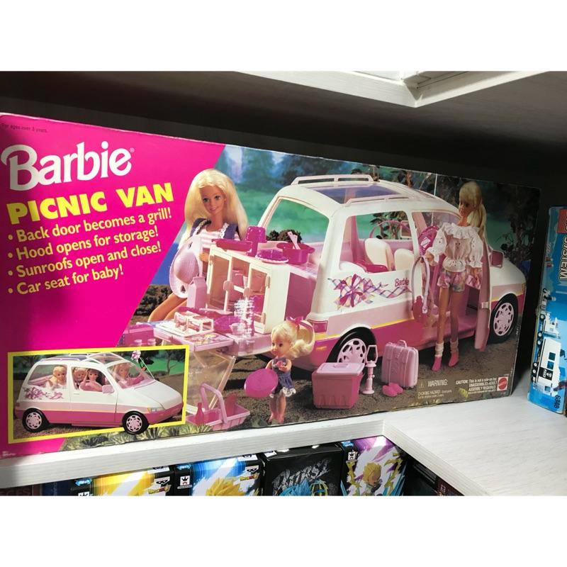 正版 全新 絕版 芭比 Barbie 娃娃 露營車 休旅車 野餐 小孩 美泰兒 MATTEL