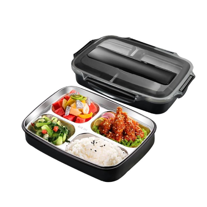 分隔式四格304不銹鋼密封保溫餐盒