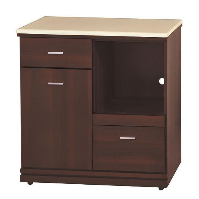 【KB291-3】胡桃色2.7尺拉盤收納櫃(下座/白沙石面)