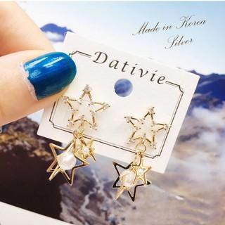 HaN 韓國 925純銀 金色星星 簍空 水鑽 立體 珍珠 垂墜感耳針式耳環 臺中市