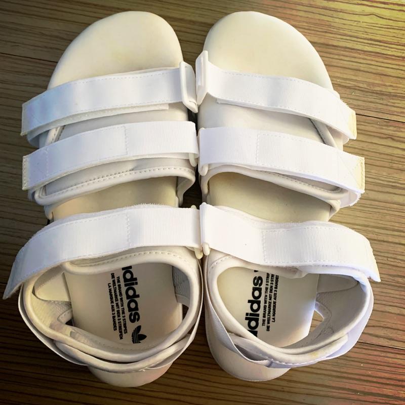 Adidas 繃帶 涼鞋 白色款