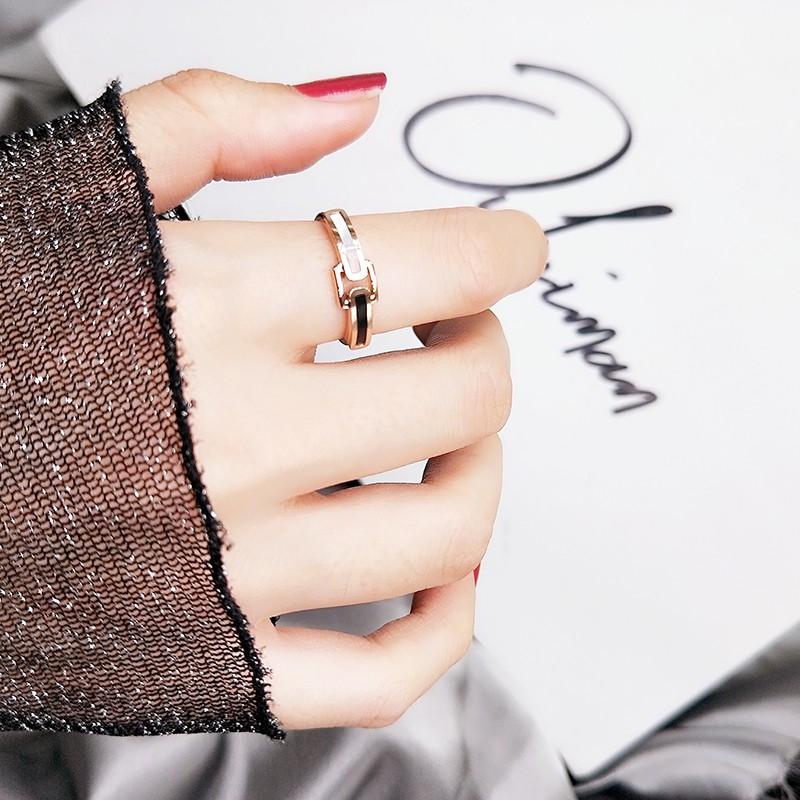 個性黑戒指女日韓潮人學生網紅鈦鋼不掉色18K玫瑰金指環冷淡風
