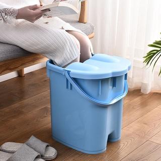 【臺灣現貨】耐摔帶蓋加高加厚足浴桶按摩泡腳桶足浴盆塑料手提洗腳桶洗腳盆