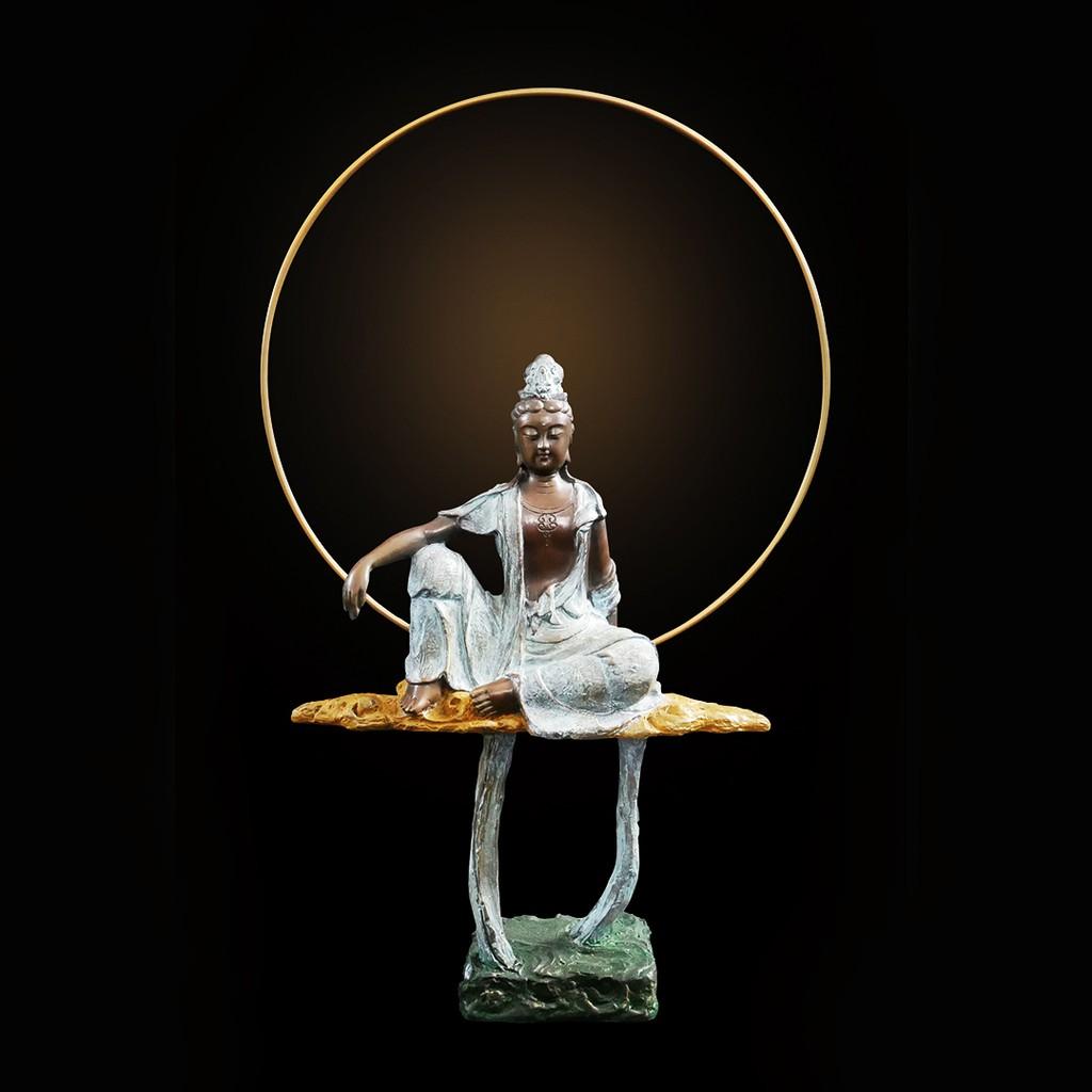子問 限量原作銅雕 普佛小品系列-水月觀音 (觀世音菩薩) 50x32x10公分 限量1000件