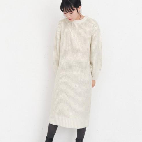 【KBF】配色蜂巢針織洋裝
