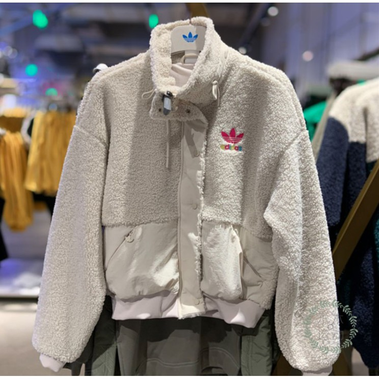 Adidas 愛迪達 三葉草 毛絨外套 GV2933  白色 立領女款 短版可愛羔羊毛夾克