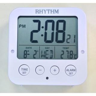 RHYTHM CLOCK 麗聲白色方型液晶日期星期貪睡雙鬧鈴溫度自動感光照明冷光鬧鐘 型號:LCT082NR03 臺北市