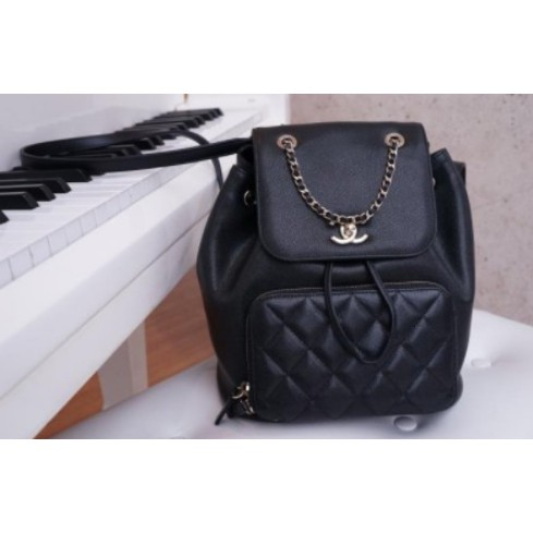 ☆COCO二手☆Chanel A93748 Backpack 荔枝紋後背包 黑金鍊