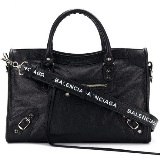 Balenciaga 431621 銀釦 S City 小羊皮機車包 Logo長肩帶 黑色