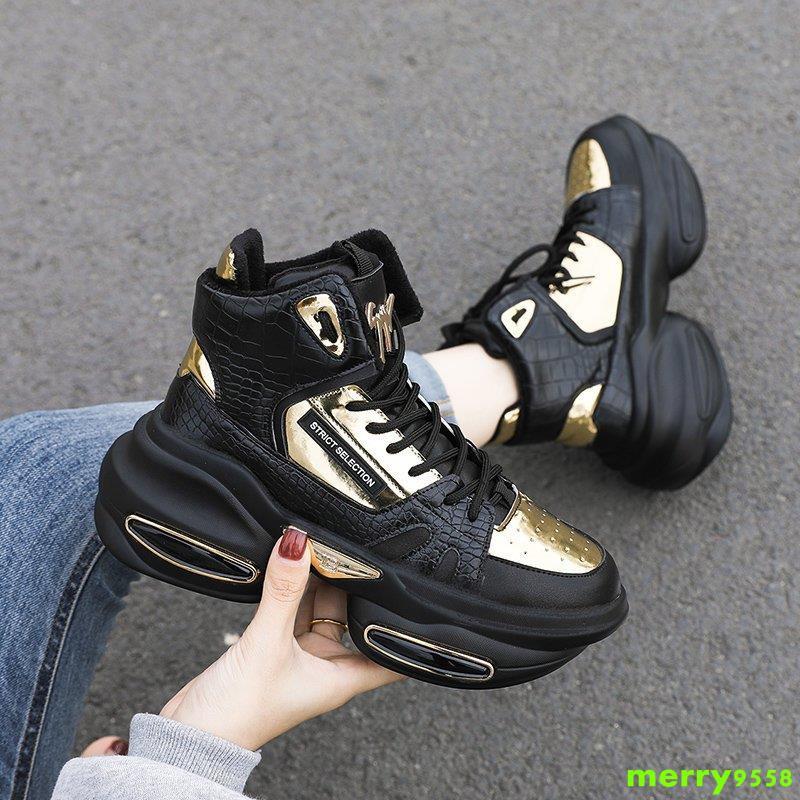 店主強推◆網紅老爹鞋子女2020年新款冬季加絨高幫鞋百搭休閑運動鞋ins潮鞋