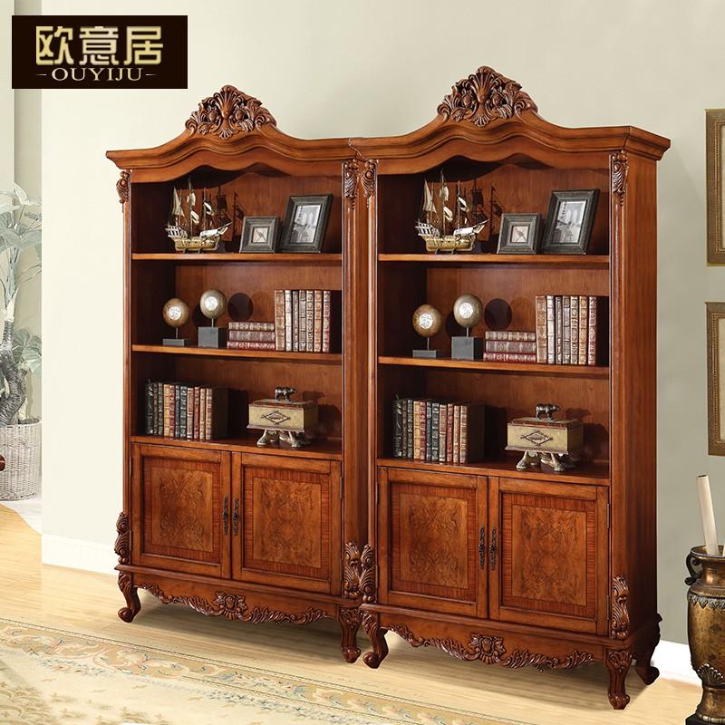 特惠美式實木書櫃歐式書櫃帶門自由組合鄉村復古書櫥書架移動兩門書櫃