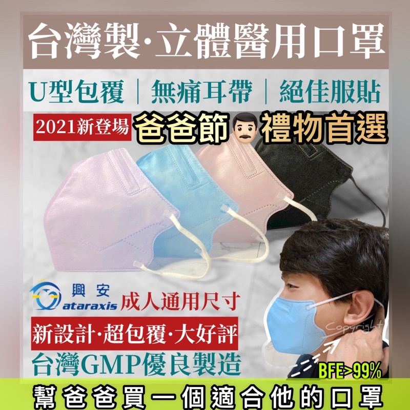 台灣製🇹🇼【醫療】興安成人3D立體醫用口罩50入。成人舒適尺寸。U型包覆。無痛耳帶。絕佳服貼。美型醫療。黑色醫療。