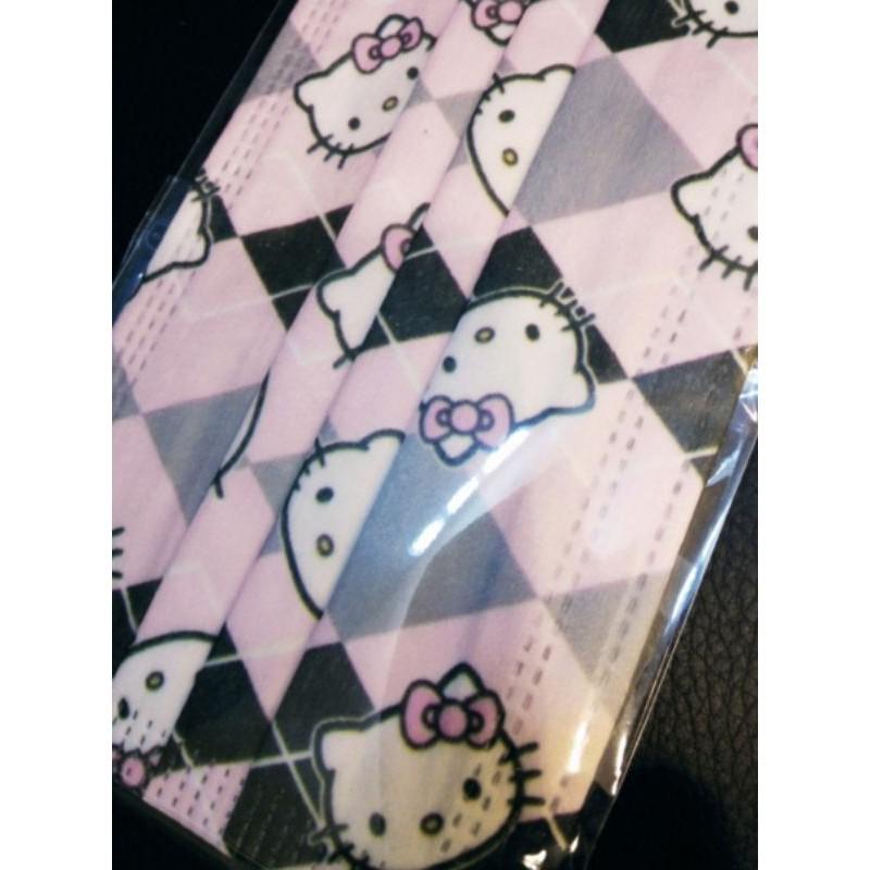 🔥現貨 熱賣🔥【Kitty口罩】Hello Kitty  凱蒂貓 (菱格) 卡通口罩 (非醫用) 成人款