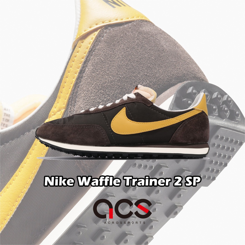 Nike 休閒鞋 Waffle Trainer 2 SP 咖啡 麂皮 黃 復古 男女鞋【ACS】 DB3004-200